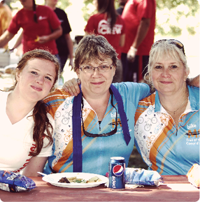 3 women eating lunch