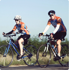 Two Bike MS participants riding their bikes