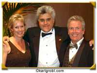 San Diego Chapter Super Bowl benefit featuring Jay Leno (center) with Board member Erin Connors and Dinner Chair Patrick Connors